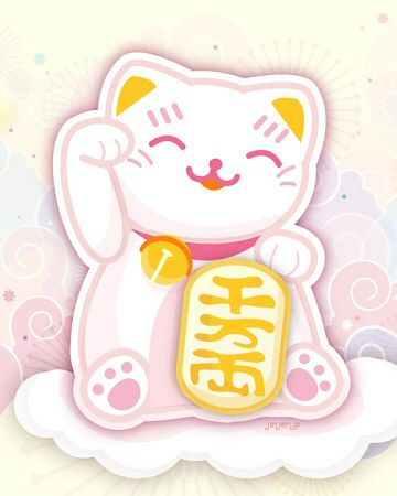 A Maneki Neko is a beckoning cat, which in Japanese culture is meant to help you attract money – very timely in the current economic situation! (The meaning actually depends on which of its paws are raised: the right paw signifies money while the raised left paw is for good luck.)