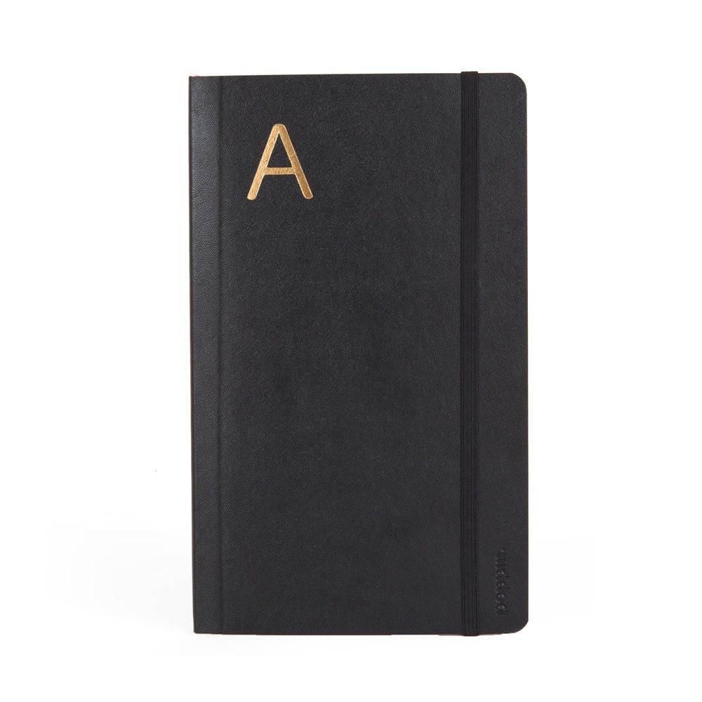 Personalized Medium Black Soft Cover Notebook with Gold Initial - Cool Office Supplies | Poppin