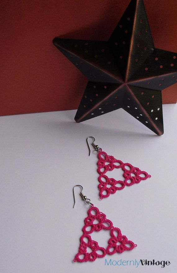 pink triangle tatted earrings by modernlyvintagecraft on