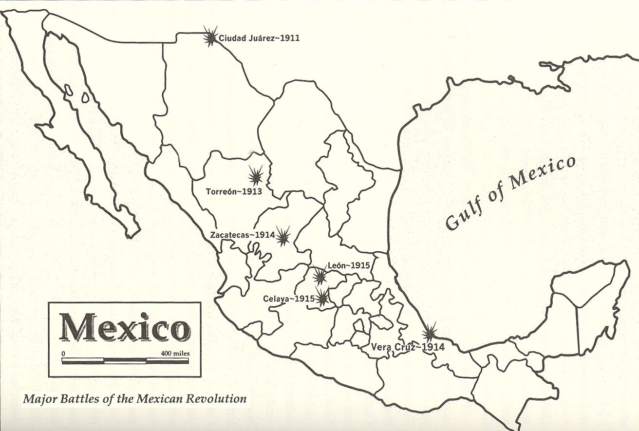 Historical Map Of The Major Battles Of The Mexican