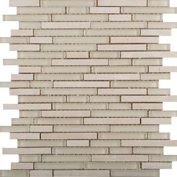 Decorative Stone Wall Tiles Lucente Random Sized Glass Mosaic Tile In Ivory  Products