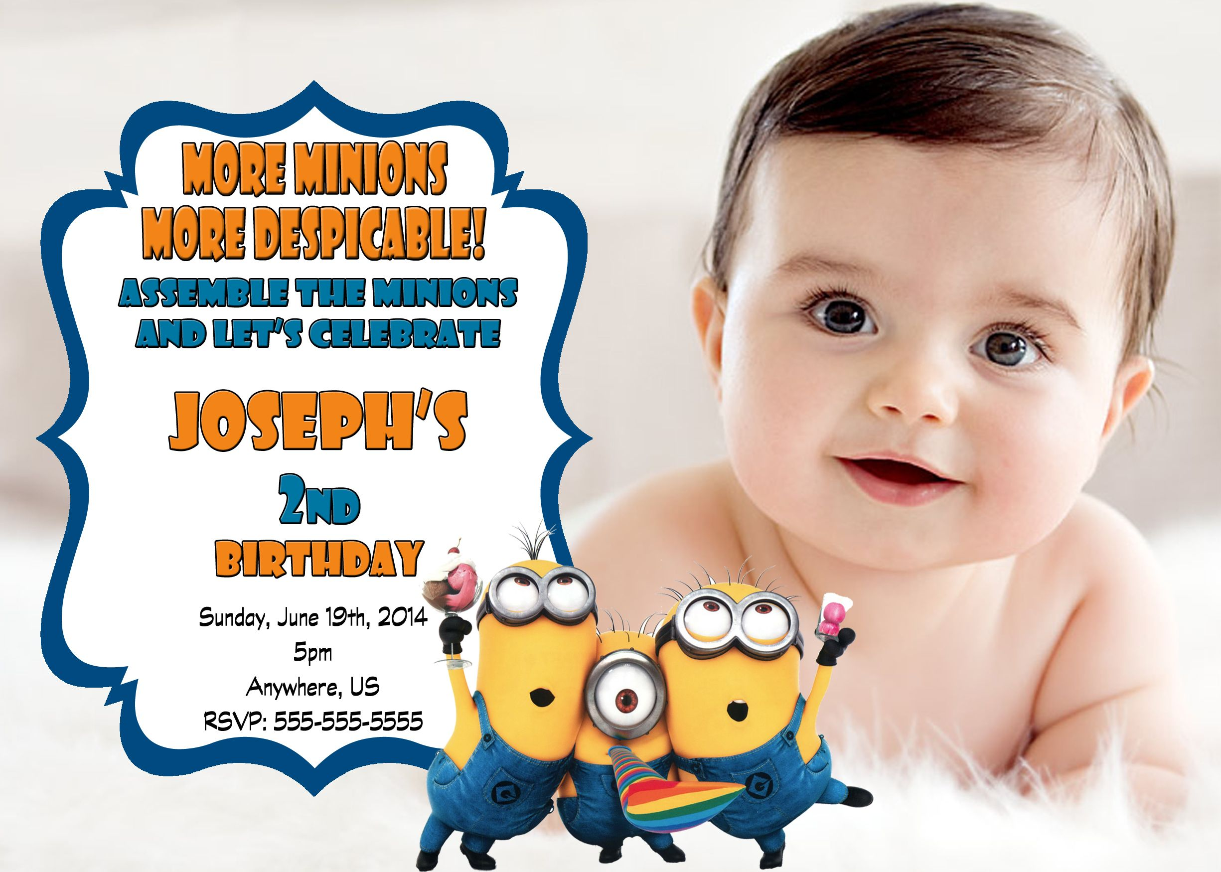 Despicable Me 2 Minions Birthday Party Invitations 899