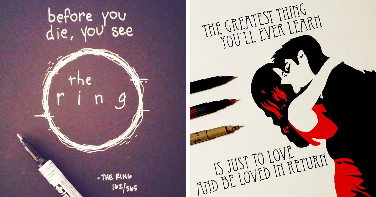 Artist Spends 365 Days Hand-Drawing 365 Movie Quotes | Bored Panda