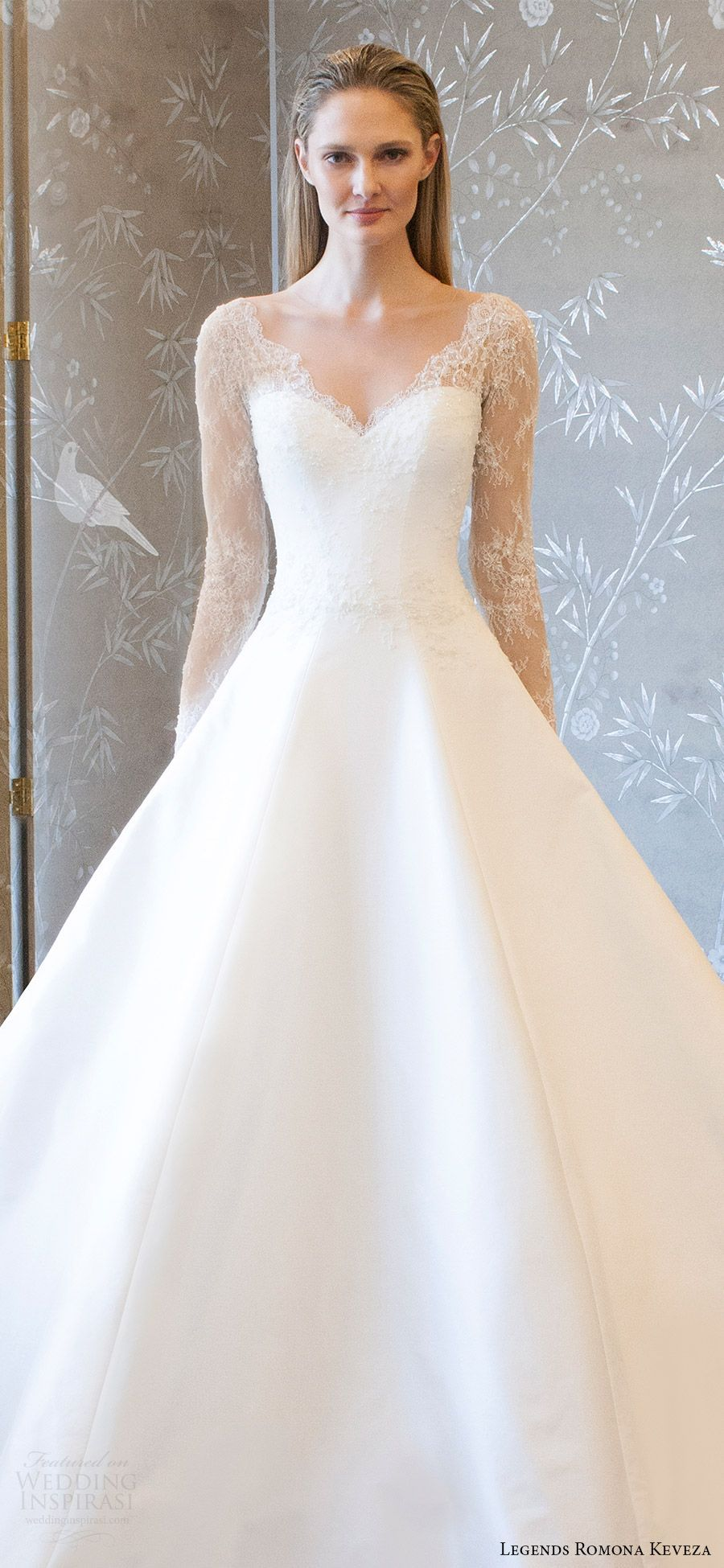 legends romona keveza spring 2018 bridal illusion long sleeves sheer ...