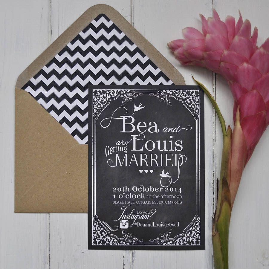 Hashtag Blackboard Wedding Stationery Invite Chalkboard