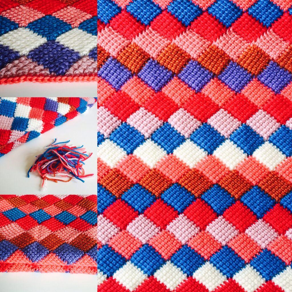 Dekentje Entrelac Tunisch Haken Tunisian Crochet Tunisian Crochet