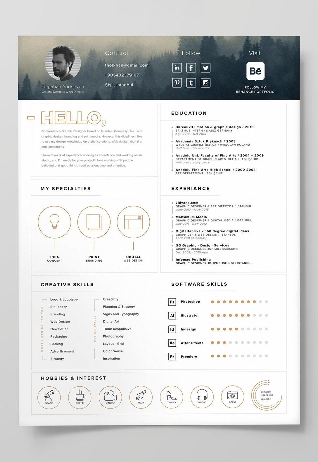 cv resume template indesign
