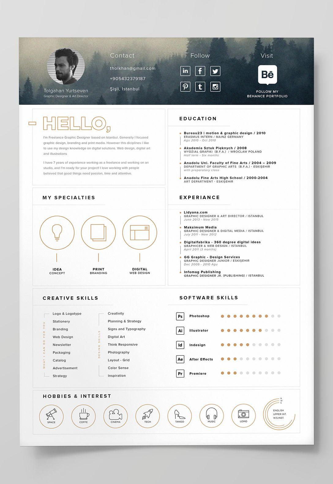 7 Free Editable Minimalist Resume Cv In Adobe Illustrator And Photoshop Format Graphic Design Resume Infographic Resume Template Creative Cv Template