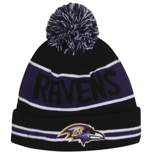 New Era Baltimore Ravens The Coach Cuffed Knit Beanie with Pom -  Black Purple. Baltimore Ravens e63249b8e3