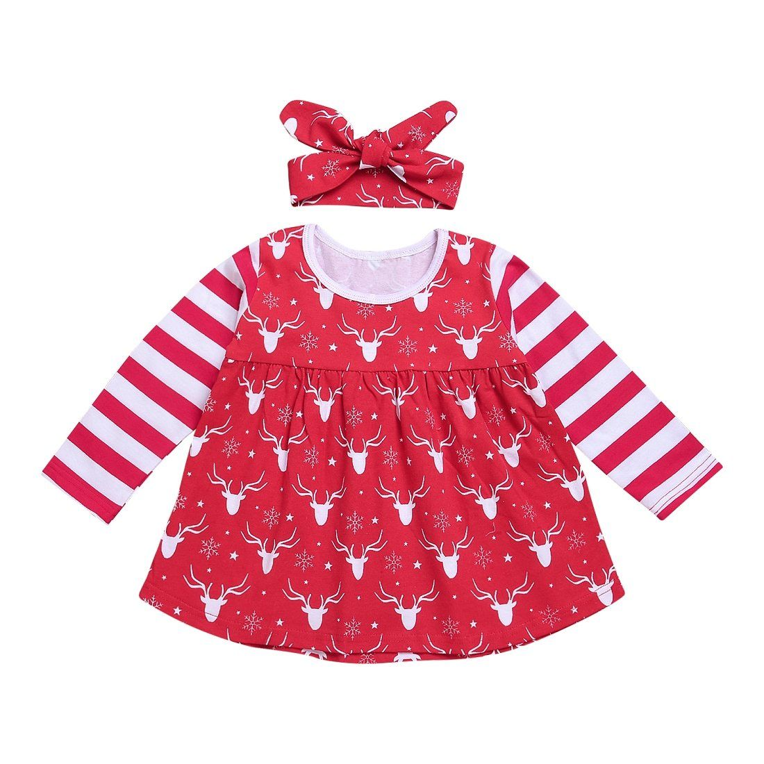 2pcs baby girls clothes cpei baby girls red strip deer dress bowknot headband red 3 6 months materialcotton blend christmas theme lovely cute