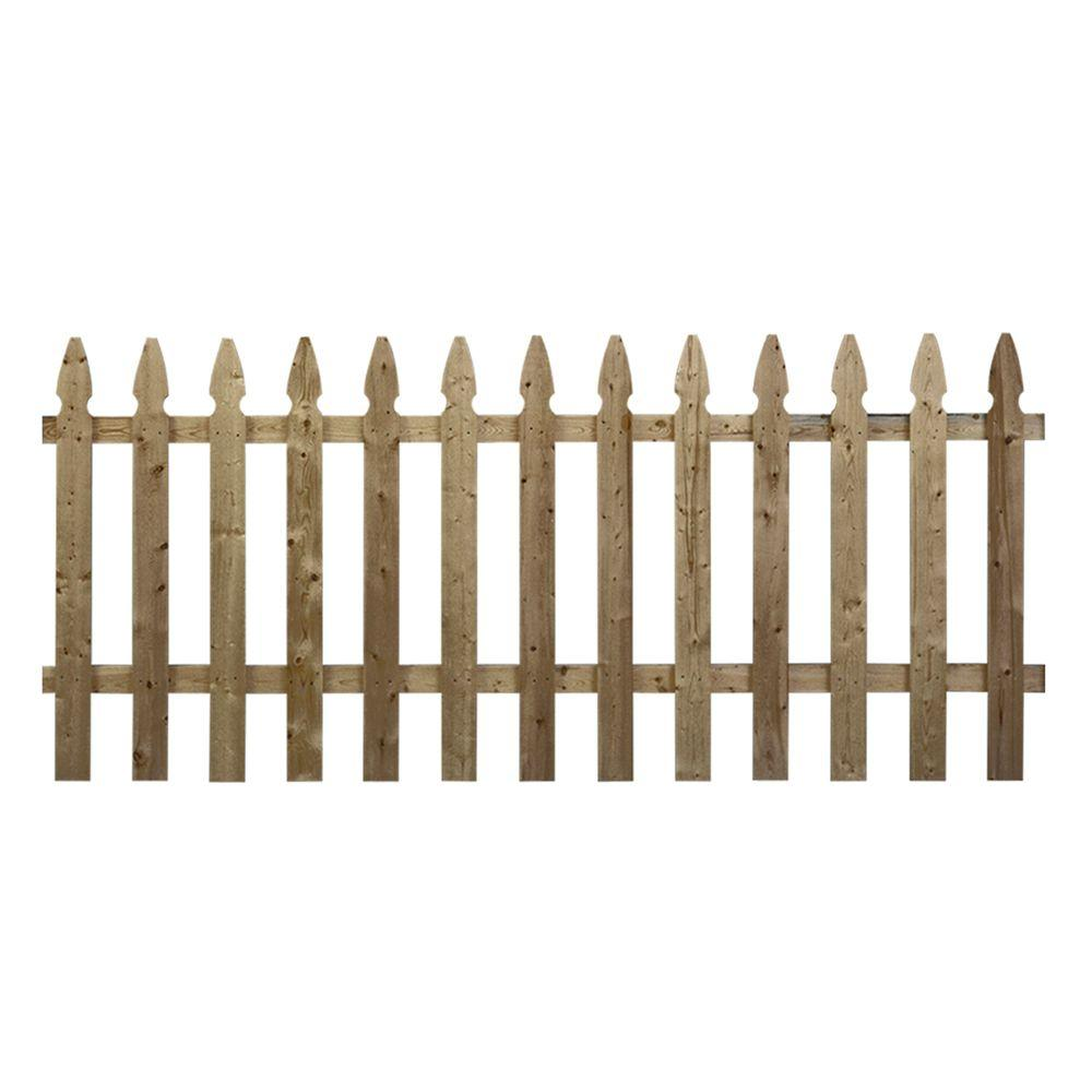 3 5 Ft X 8 Ft Pressure Treated Pine French Gothic Fence Panel 73000129 The Home Depot Wood Fence Fence Panels Wood Picket Fence