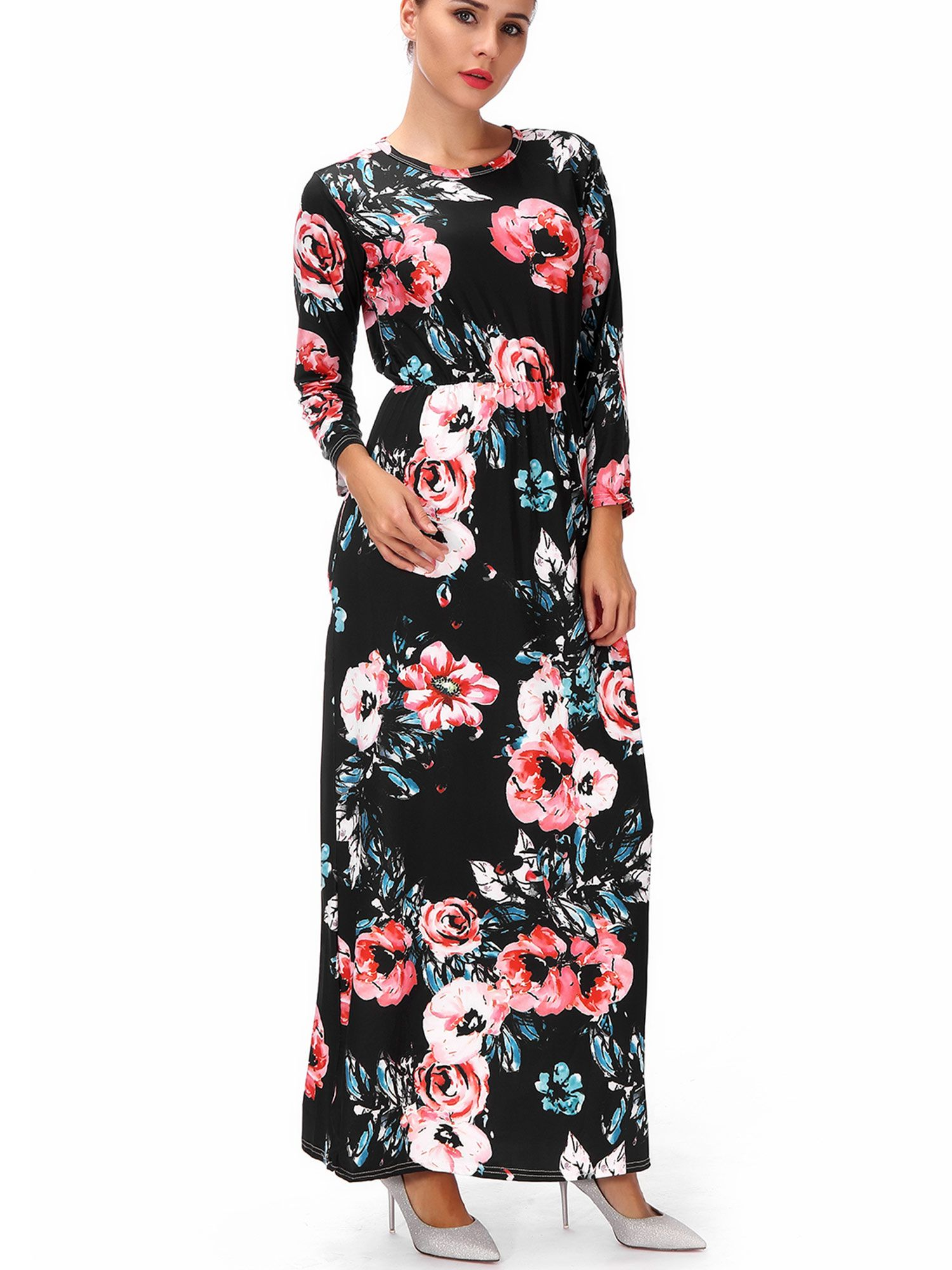 234fdf2128192 Buy Plus Size Maternity Dresses Long Sleeve Empire High Waist Maxi Dress  Floral Print Casual Black/White S-3XL at Walmart.com