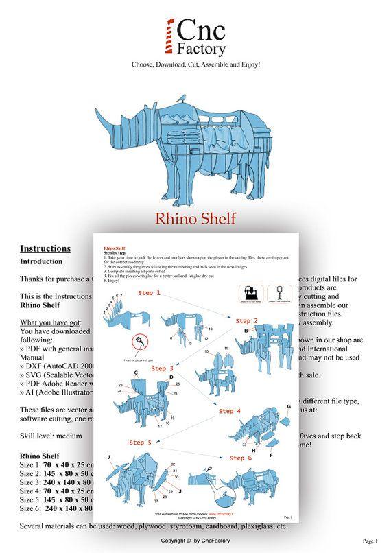 RHINO SHELF - Template cutting file - Rhino storage stand - laser ...