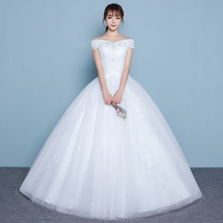 Buy Luxury Style Rhinestone Off Shoulder Wedding Gown at YesStyle.com! Quality products at remarkable prices. FREE WORLDWIDE SHIPPING on orders over US$35.