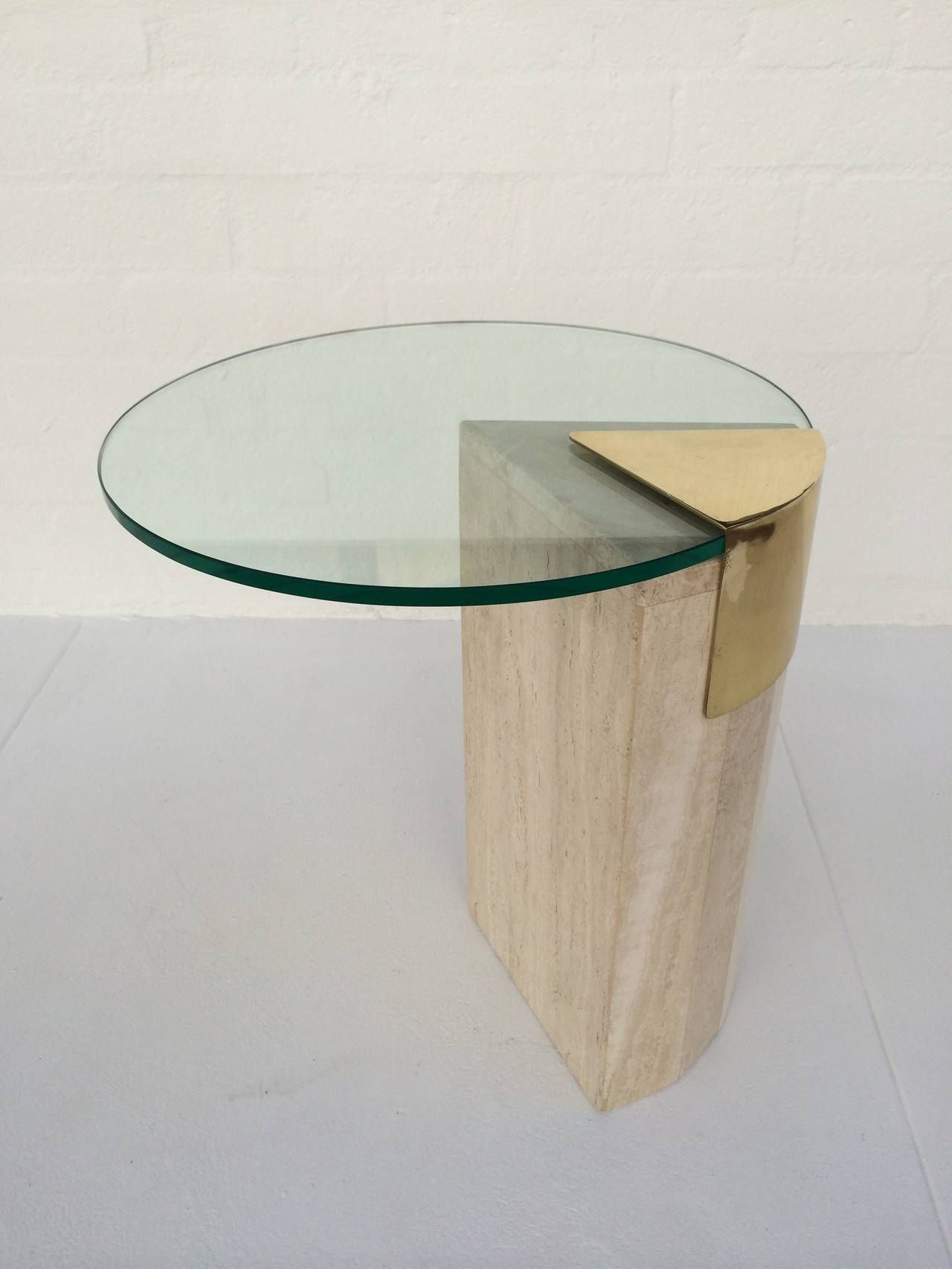 Travertine And Brass With Glass Side Table By Pace Collection Side Table Glass Side Tables Travertine [ 1706 x 1280 Pixel ]