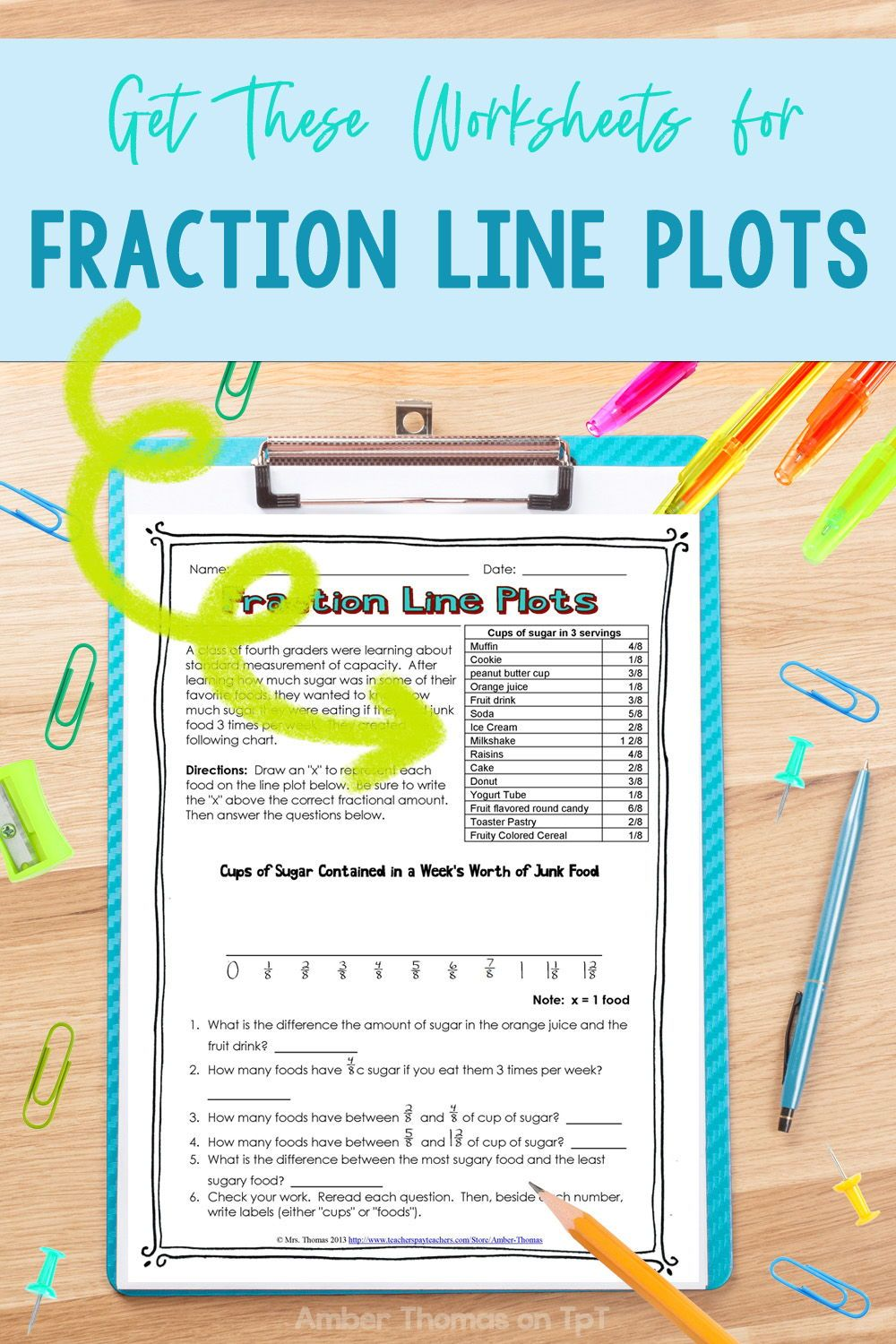 medium resolution of Fraction Line Plot Worksheets   Elementary math lessons