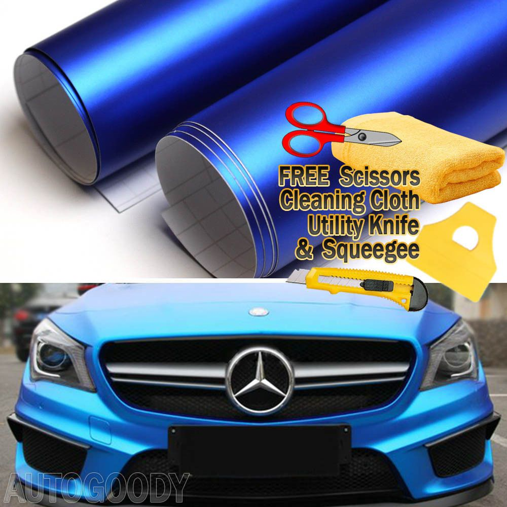 24 X 60 Satin Matte Chrome Metallic Deep Blue Vinyl Film Wrap Bubble Free Ebay Blue Vinyl Vinyl Deep Blue