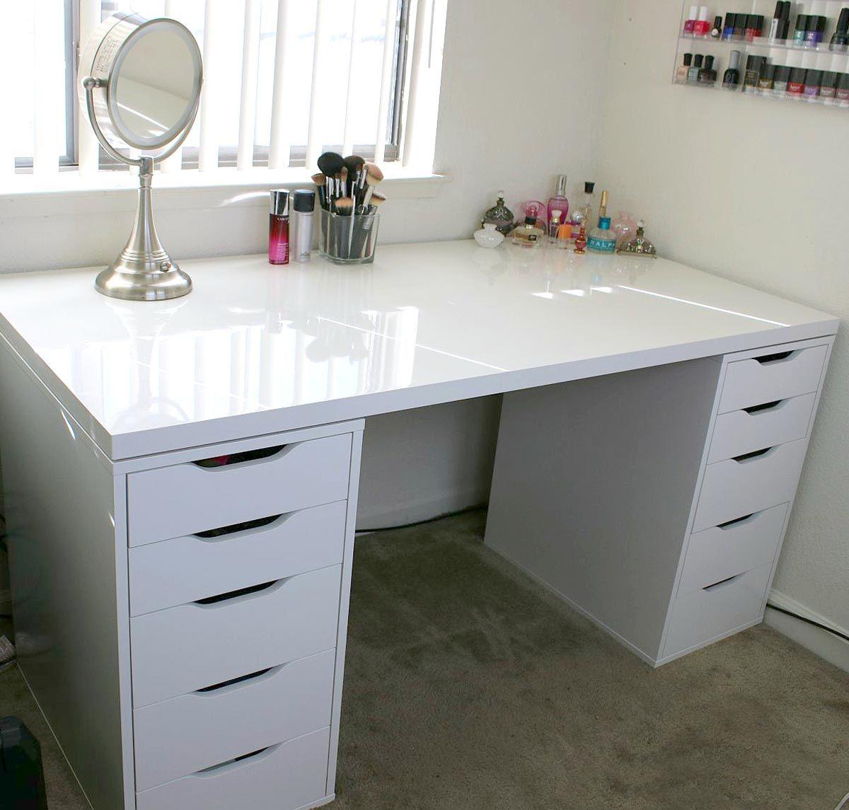 White Minimalist Makeup Vanity And Storage Ikea Linnmon
