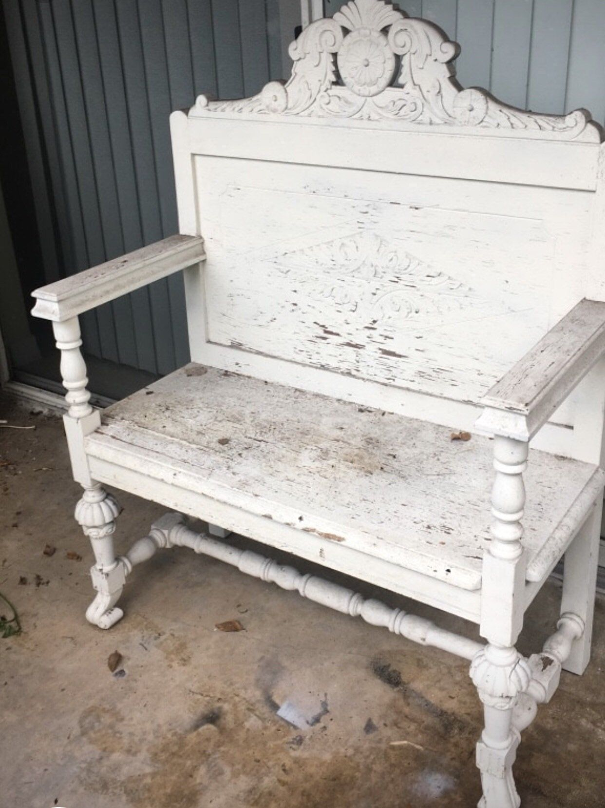 Outstanding Hand Carved Wooden Bench From Indonesia Shabby Chic White Gmtry Best Dining Table And Chair Ideas Images Gmtryco