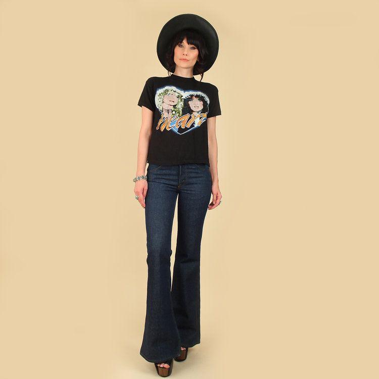 873d2160e74d Vintage 70s Heart T-Shirt Band Concert Tour Tee Ann Wilson Nancy Wilson  butterfly butterflies rainbow black cotton tshirt shirt top hellhoundvintage  ...