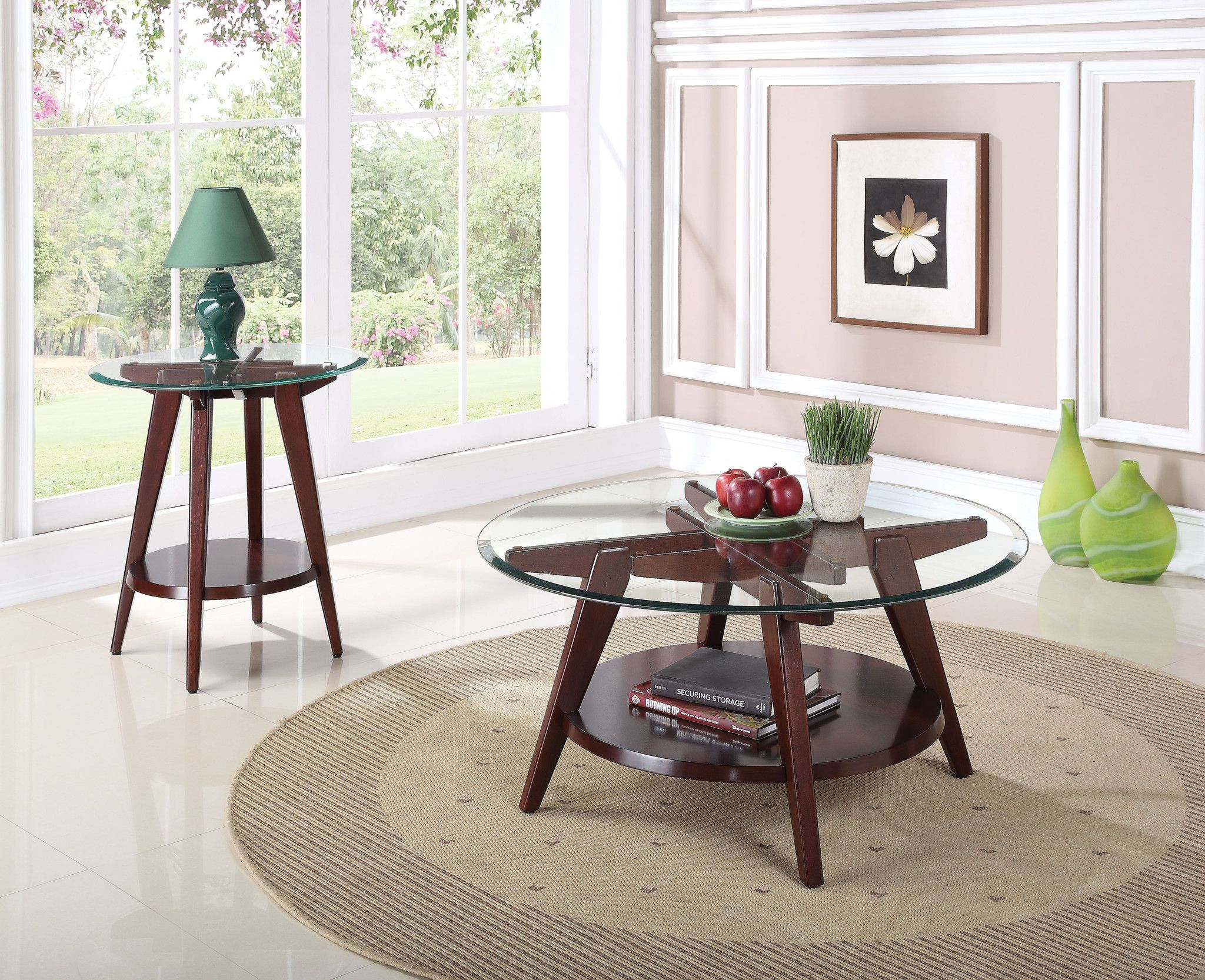 ardis end table 80522 100 features espresso finish clear glass