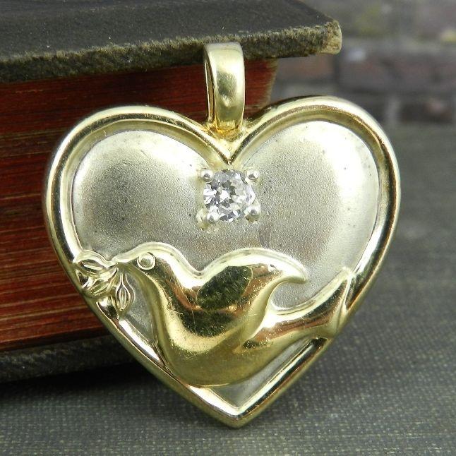 Gorham sterling silver heart dove serenity prayer pendant gorham sterling silver heart dove serenity prayer pendant mozeypictures Image collections