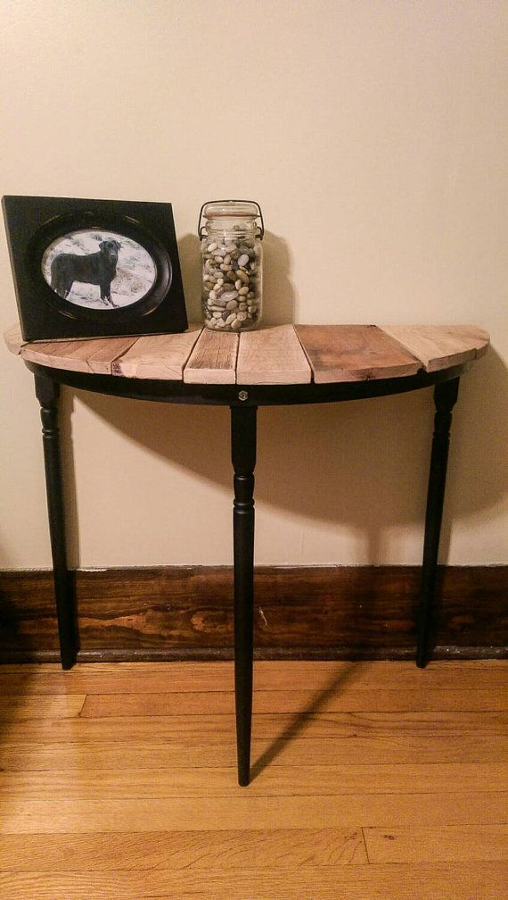 Half Circle Entryway Table, Night Stand Or End Table   Made From  Upcycled/Reclaimed