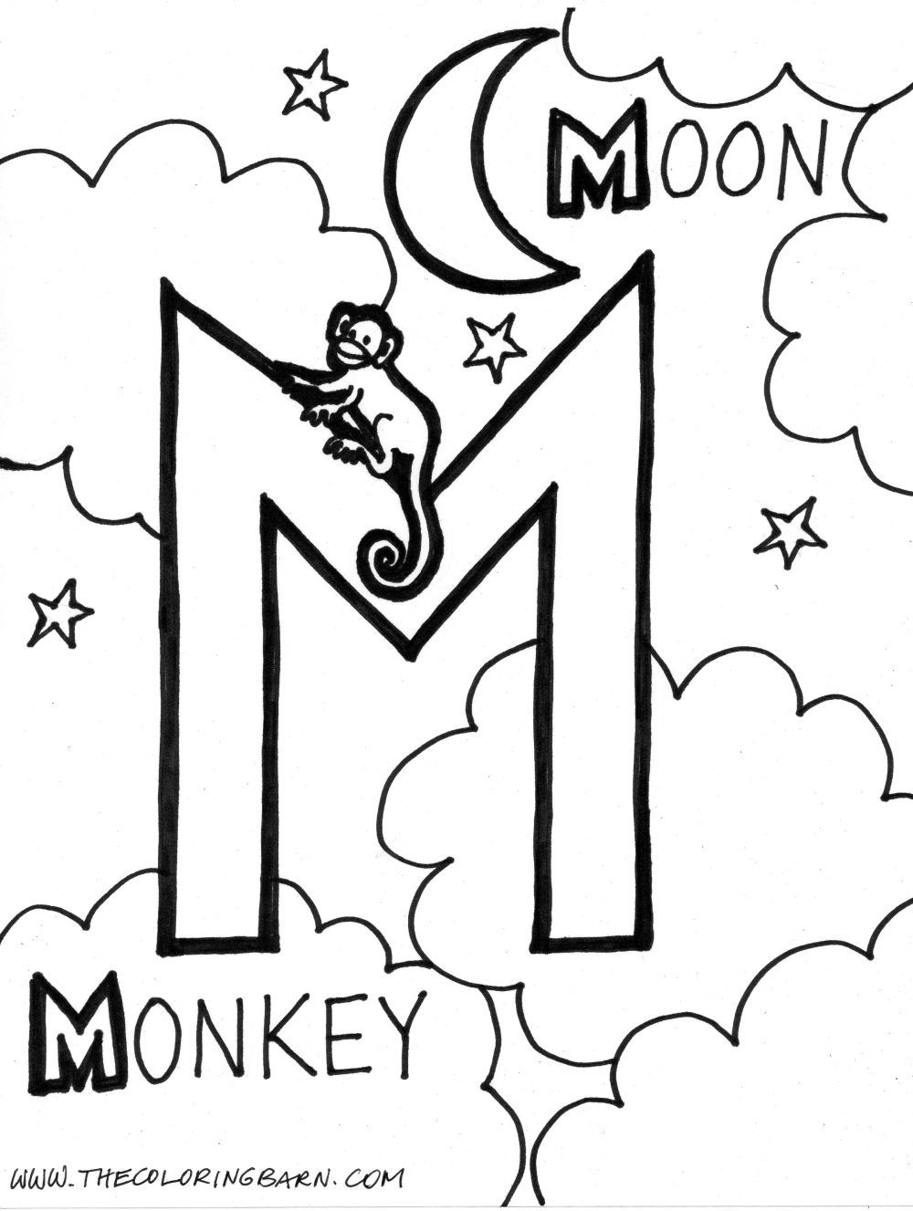 Coloring book pages letter m - M For Moon M For Monkey Alphabet Coloring Pageskids