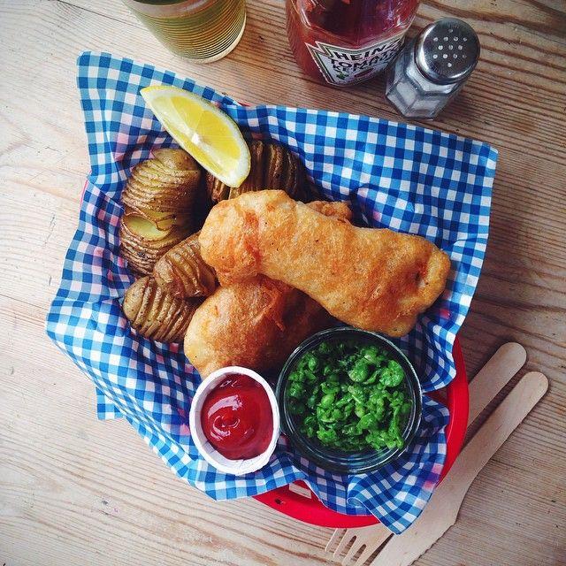 Beer batter fish and crispy hasselback potatoes