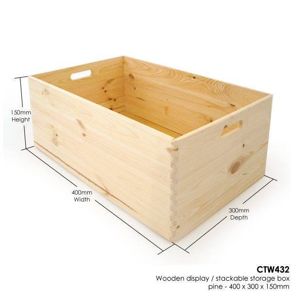 Wooden Display / Stackable Storage Box   Pine   400 X 300 X 150mm   Boxes