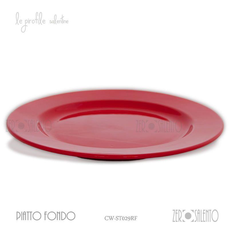 PIATTO DA TAVOLA PIANO | Piatto Piano Classico Rosso in Vendita Terrecotte da Tavola