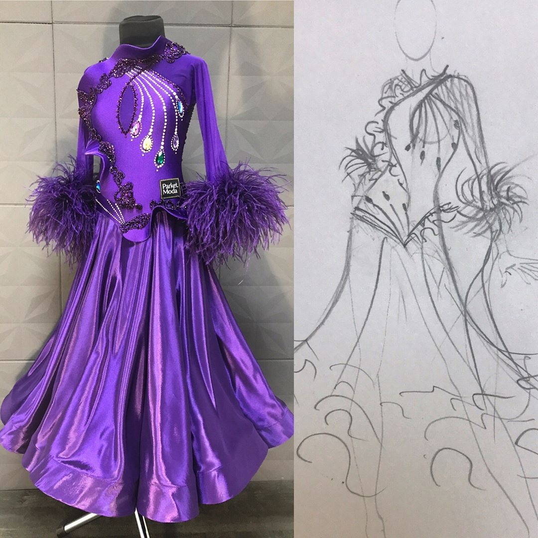 Бальные платья картинки латина карандашом