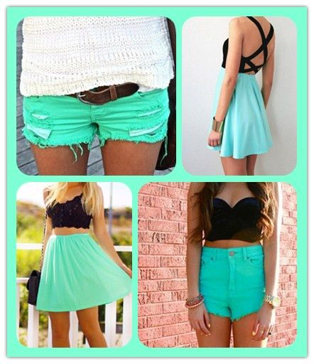 Attempting To Find Color Ideas For Tops To Go With My New Turquoise Shorts Turquoise Clothes Fashion Cute Outfits