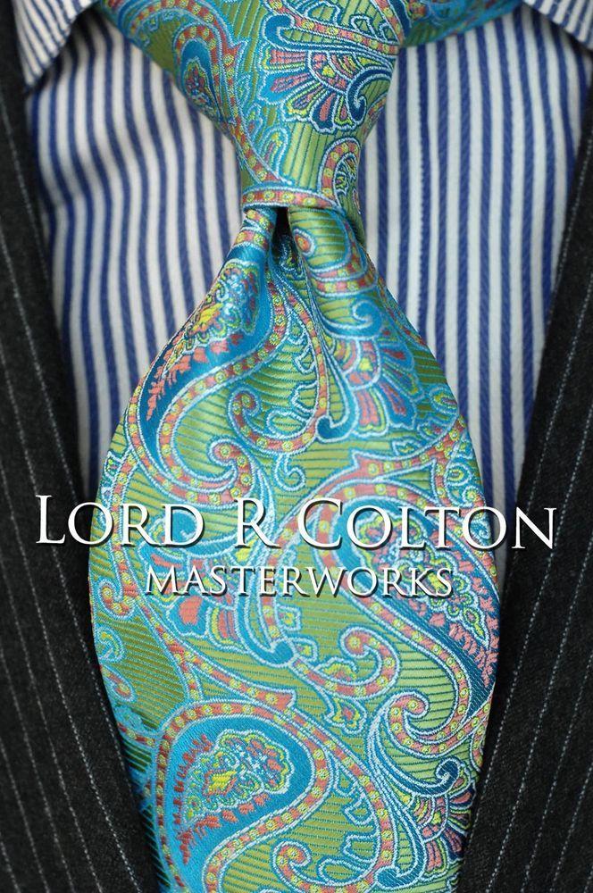 Lord R Colton Masterworks Tie - Cafayate Olive Glacier Silk Necktie - $195 New…