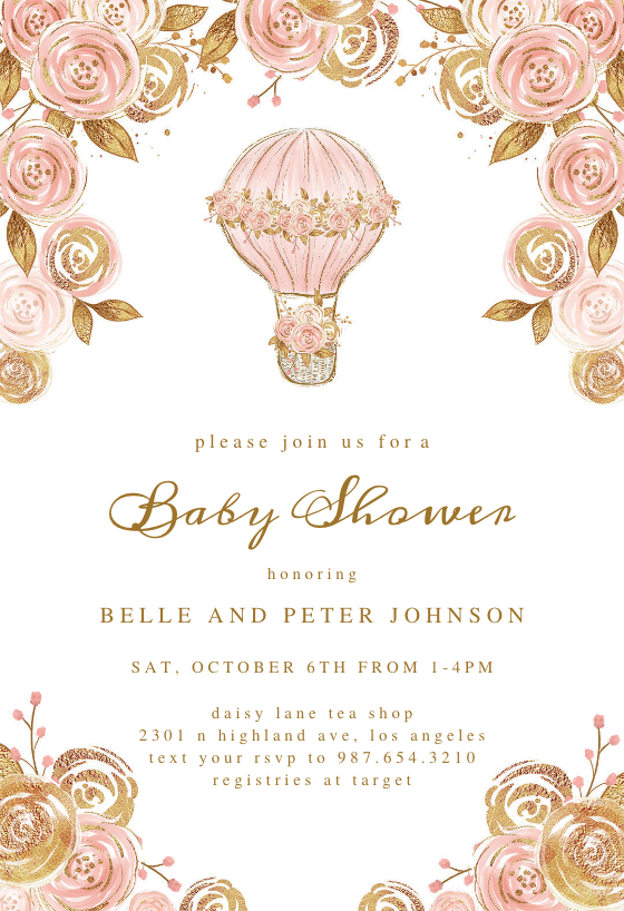 Glitter Hot Air Balloon Baby Shower Invitation Template Greetings Island Hot Air Balloon Invitation Baby Shower Invitation Templates Hot Air Balloon Baby Shower