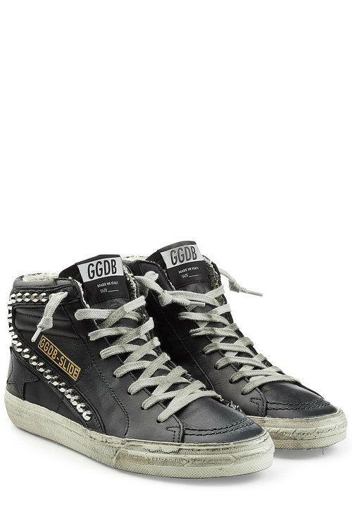 Golden Goose Slide Stud Smudged Leather High Top Sneakers In Black Modesens In 2020 Studded Sneakers Sneakers Golden Goose Sneakers Outfit