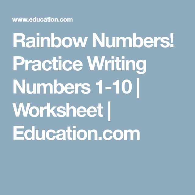 Rainbow Numbers! Practice Writing Numbers 1-10 | Worksheets, Tracing ...