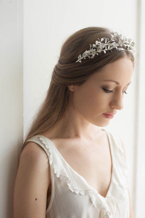 Myrtle Tiara, Antique German Tiara, Gold Leaf Tiara, Bridal Crown, Wedding tiara, Vintage Tiara #113