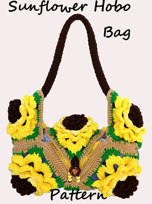Crochet Sunflower Hobo Bag Pattern PDF. | Bags | Pinterest | Bolsos ...