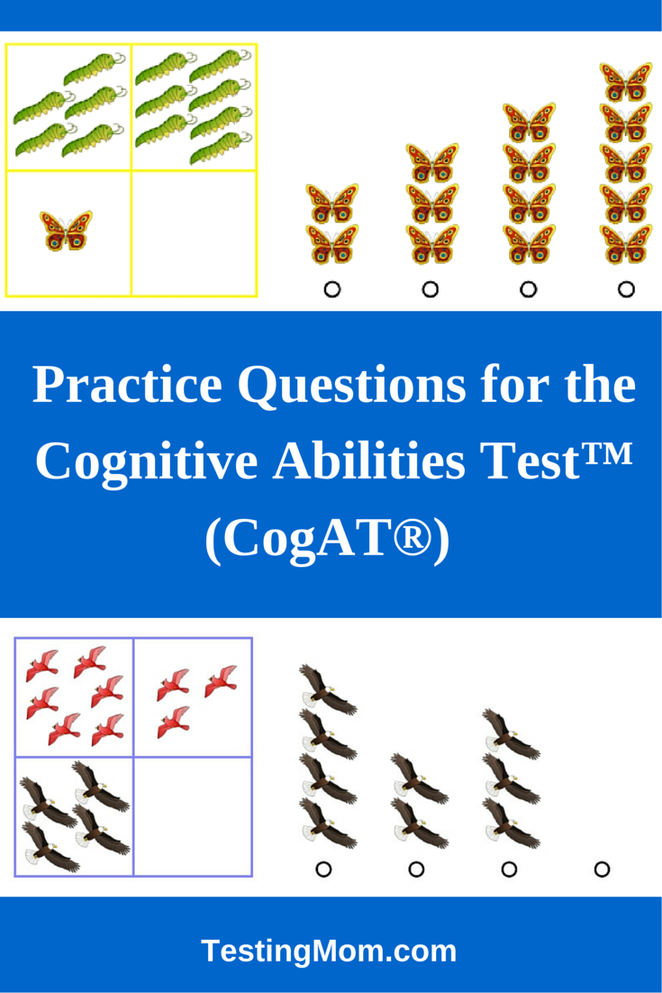 Cognitive Abilities Test™ (CogAT®) practice test questions for Kindergarten through the 6th grade. The CogAT® is frequently used for gifted and talented ...