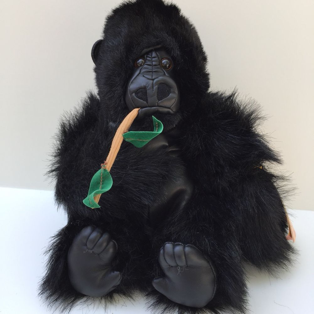 Animal Planet Harry Gorilla Plush W Branch Black Faux Leather Face