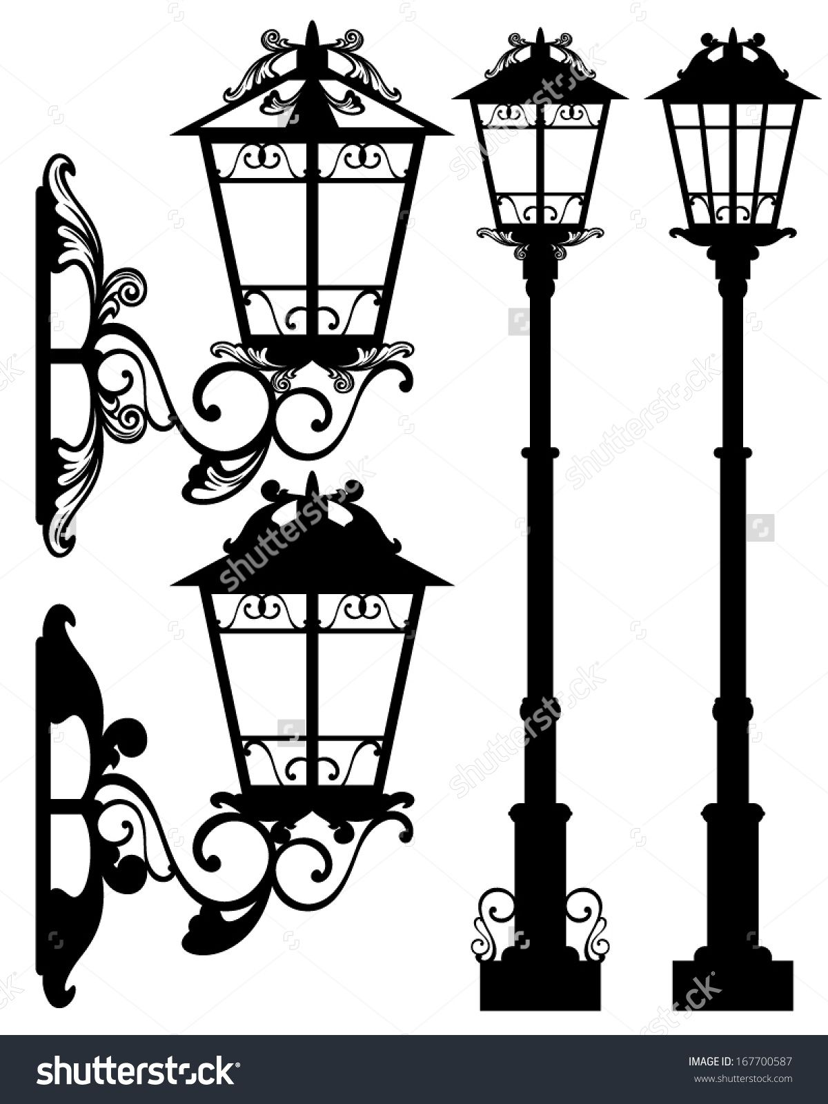 Stock Vector Antique Street Light Silhouettes And Detailed Black And White Vector Outlines 167700587 Jpg 1200 1600 Street Light Art Lamp Street Lamp