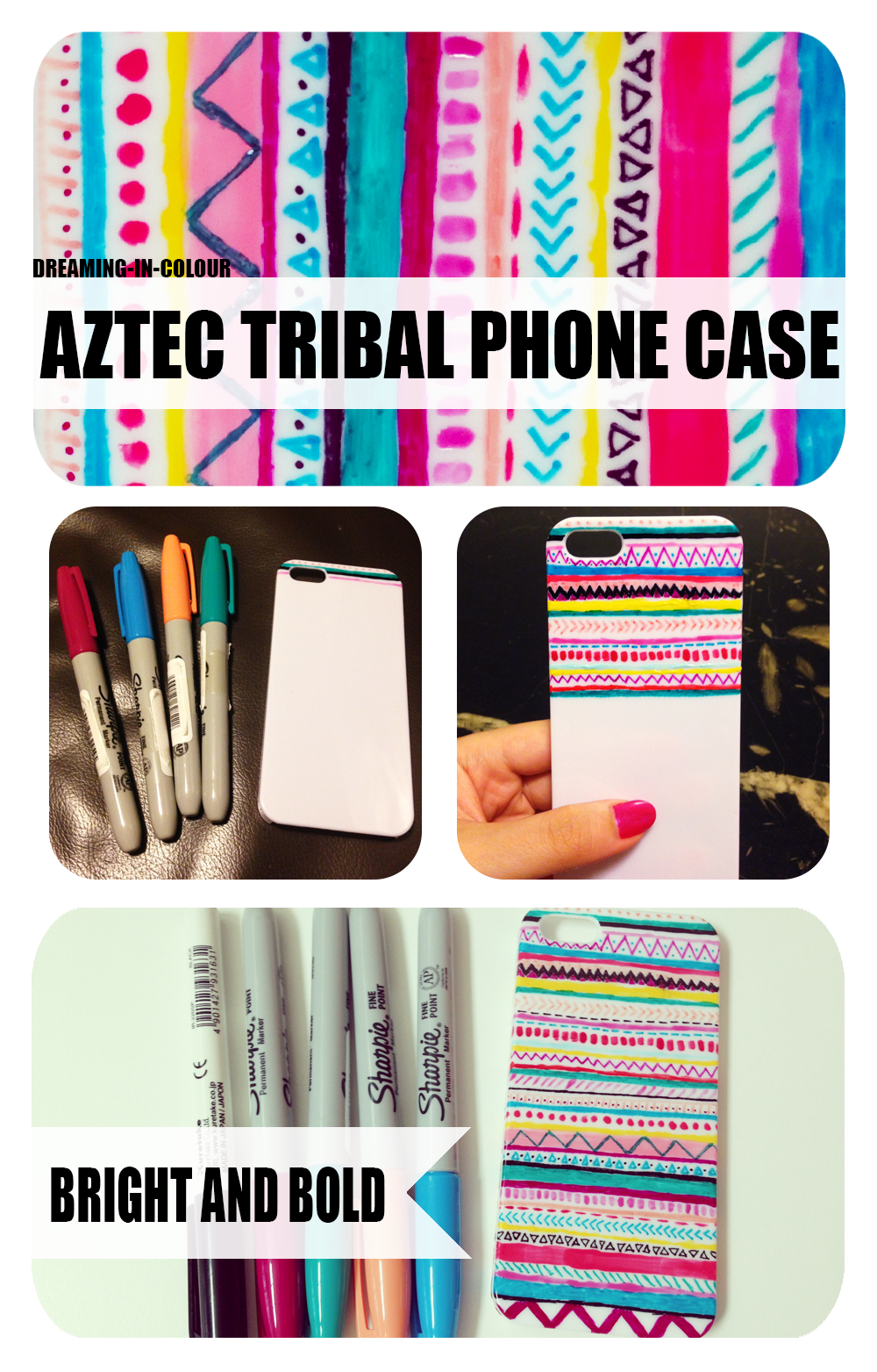 diy aztec tribal phone case with sharpie markers and nail polish ...