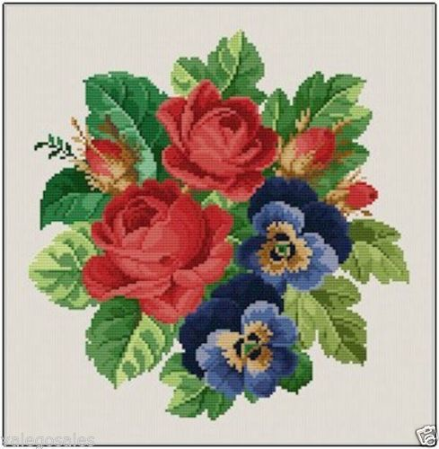 Ellen Maurer-Stroh Counted Cross Stitch Chart Pattern ~ ROSES AND PANSIES #017