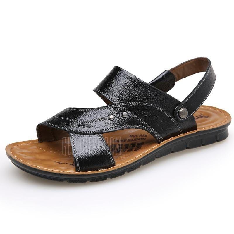 993468d1f09 Genuine Leather Sandals Men S Slides Dual-Use Breathable Beach Men ...