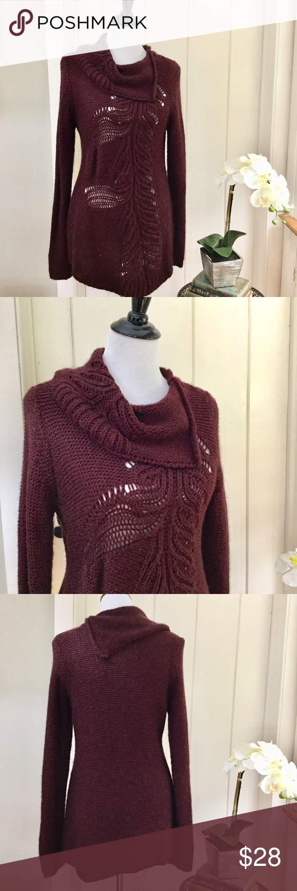 MOTH ANTHRO Woven Burgundy Cowl Neck Sweater | Deep burgundy, Open ...