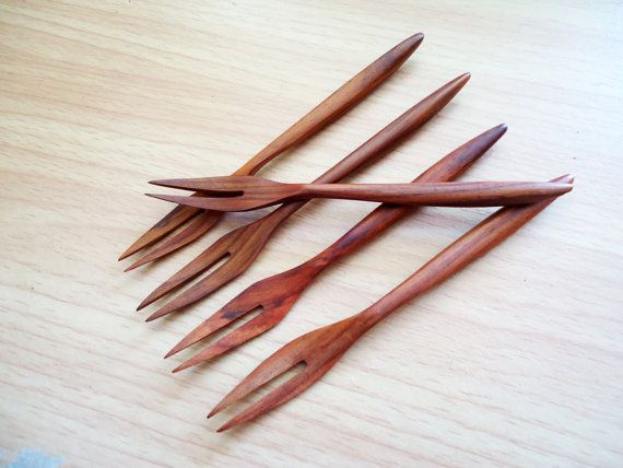 Wood Utensils Mini Wooden  Fork rosewood 5 by MoreBurlwood on Etsy, $2.50
