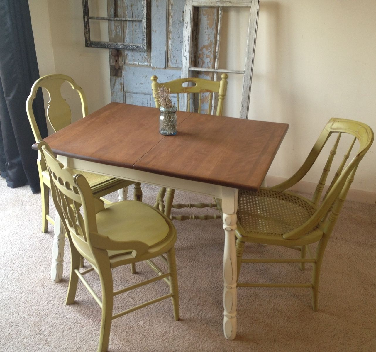 Vintage Small Kitchen Table: Like The Cream Painted Legs With The Natural  Wood Top