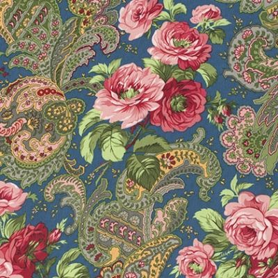 Rose Paisley on Blue