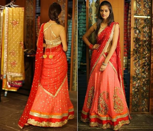 1239c4382772e9 ... color combination designed by Bhargavi Kunam. Pink lehenga with paisley  work, red duppatta, paired up with gold high neck blouse with netted  neckline.